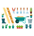 set garbage and garden icons flat vector image