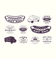 set hot dog emblems and logos vector image