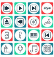 set of 16 audio icons includes sound box music vector image vector image