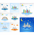 set of city abstract backgrounds vector image