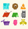set of cute kids educational geometrical animals vector image