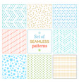 set of seamless snowflakes patterns vector image
