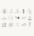 set stickers and badges for organic vector image