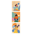 set three girls reading books in a triptych vector image vector image