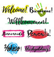 set with lettering welcome vector image
