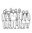 seven businessmen and two businesswomen standing vector image vector image