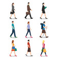 side view men and women walking vector image vector image