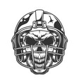skull in football helmet vector image vector image