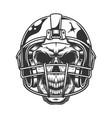 skull in the football helmet vector image