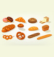 sliced butterbrot bread and baguette cake vector image vector image
