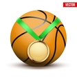Sport gold medal with ribbon for winning vector image vector image