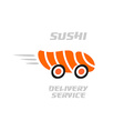 Sushi delivery service logo template vector image vector image