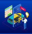 taxi service mobile phone with app on city vector image vector image