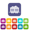 train waggon with coal icons set vector image vector image