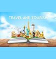 travelling tourism poster design in book vector image vector image