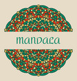 vintage card with mandala pattern and ornament vector image vector image