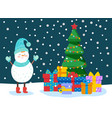 winter card with snowman tree and gift vector image vector image