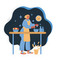 woman cooking at night vector image vector image