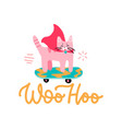 woohoo - congratulation from cat sticker vector image vector image
