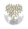 world down syndrome day cute heart made of ribbon vector image vector image