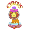 colored line art drawing of circus theme - lion in vector image