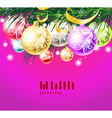 bright christmas background with baubles vector image vector image