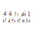 bundle walking families collection mothers vector image vector image
