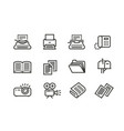 business line icons set collection black vector image
