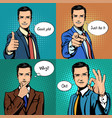 businessman with different hand gestures vector image vector image