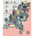 Cartoon map holland with legend icons