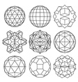 Collection of 9 black and white complex vector image