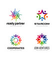 colorful community logo design set vector image