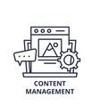 content management line icon concept content vector image vector image