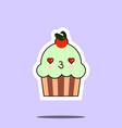 cup cake sweet kawaii character vector image vector image