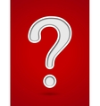 Cut out hole question mark on red background vector image