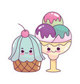 cute food ice cream scoops and cupcake sweet vector image