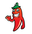 cute red hot chilli pepper character in cartoon vector image vector image