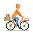 delivery service worker delivering boxes with vector image vector image