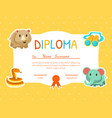 diploma template for kids with place for your text vector image vector image