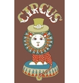 drawing of circus theme - lion in a hat with vector image vector image