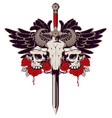 emblem with skulls sword roses and wings vector image vector image