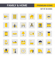 family and home yellow icons vector image