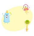 funny baby pacifier milk bottle and rattle toy vector image vector image