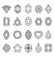 gemstones lines icon set geometric rock vector image