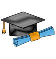 graduation hat and diploma success school icon vector image
