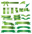 Green ribbons set isolated on white background vector image