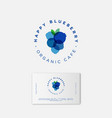happy blueberry organic logo business card vector image