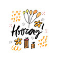 hooray cartoon hand drawn lettering vector image vector image