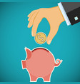human hand with coin and piggy bank investments vector image vector image