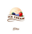 ice cream logo ribbon berries vector image